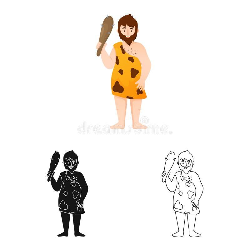 穴居人的和人象的传染媒介例证 设置穴居人的和史前股票简名网的 皇族释放例证