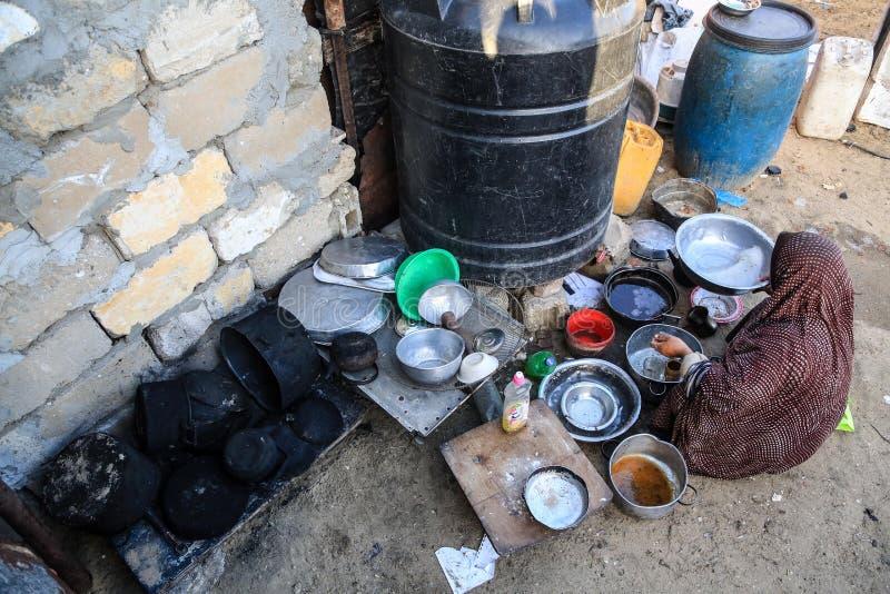 穷在alshwaaeh区域内在加沙 免版税库存照片