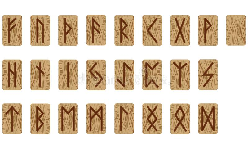 空一套二十四的诗歌和一个 斯堪的纳维亚语 仿制灼烧的木头 E 免版税图库摄影