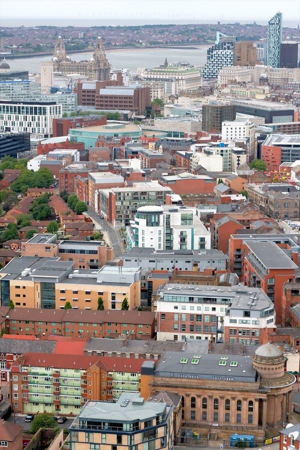 空中中心城市利物浦 免版税库存照片