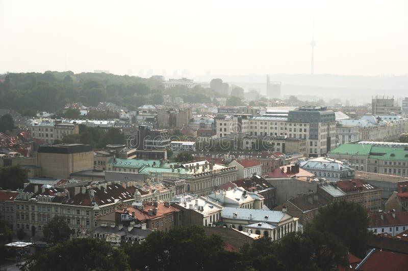 空中中心城市老视图维尔纽斯 图库摄影