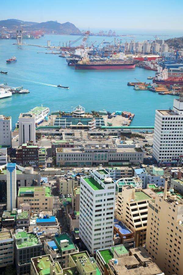 空中亚洲货物港口视图 免版税库存照片