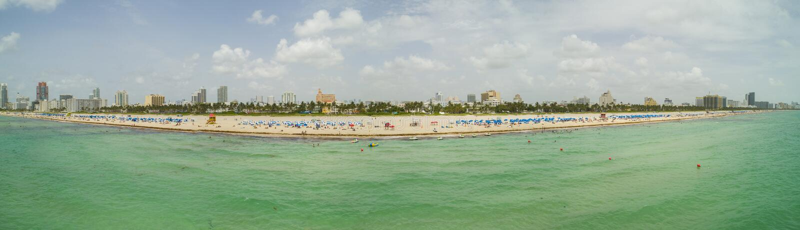 空中全景迈阿密海滩夏天2018年 库存照片