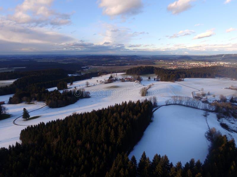 空中冬天风景 库存照片