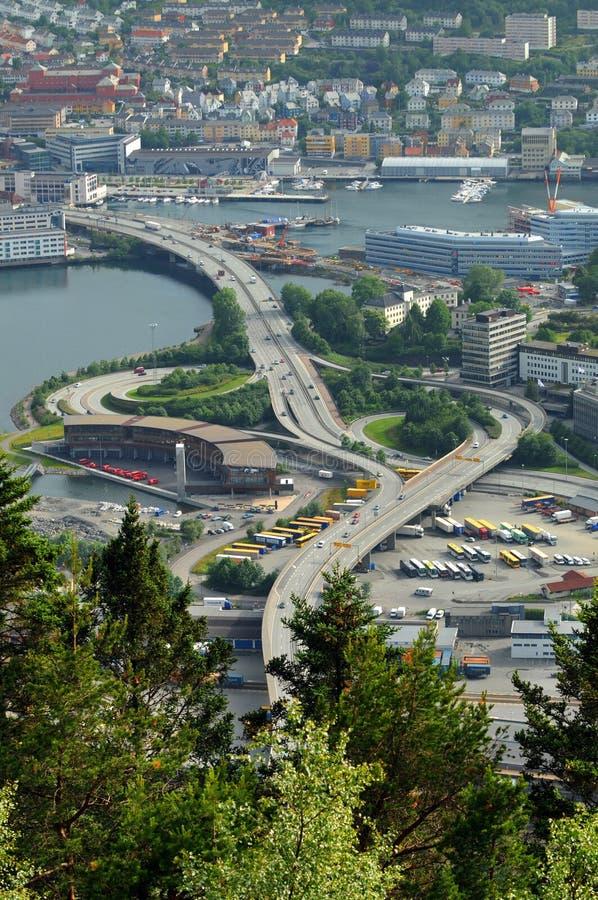 空中卑尔根挪威视图 图库摄影