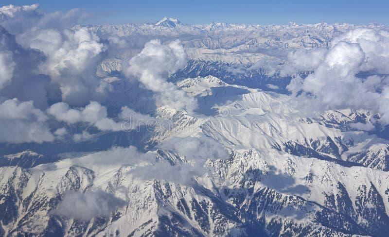 空中喜马拉雅山视图 库存照片