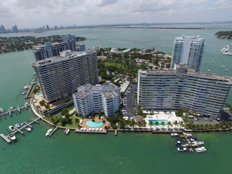 空中图象佳丽小岛迈阿密海滩 库存照片