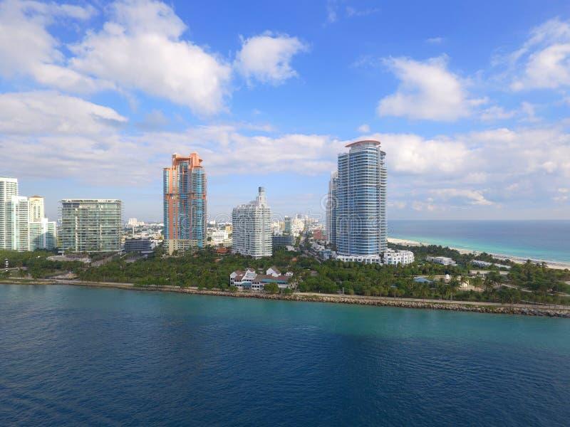 空中图象迈阿密海滩南Pointe公园 免版税库存照片