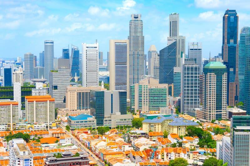 空中地平线新加坡街市唐人街 免版税库存图片