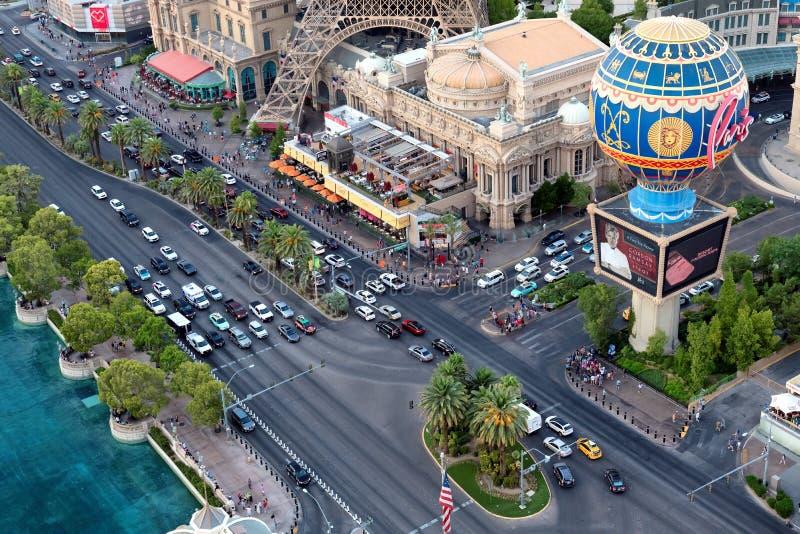 空中埃菲尔旅馆las剥离顶部塔维加斯视图 库存照片