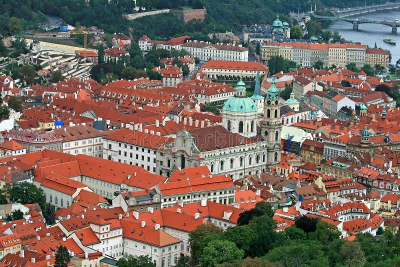 空中城市布拉格视图 免版税库存图片