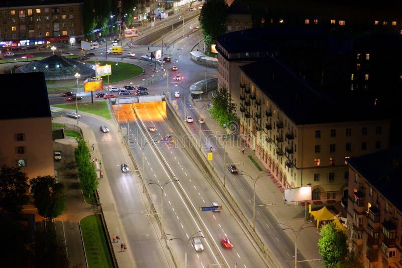 空中城市kyiv晚上乌克兰视图 免版税库存照片