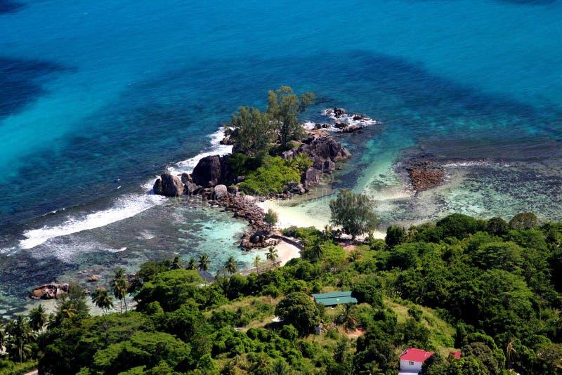空中塞舌尔群岛 库存照片
