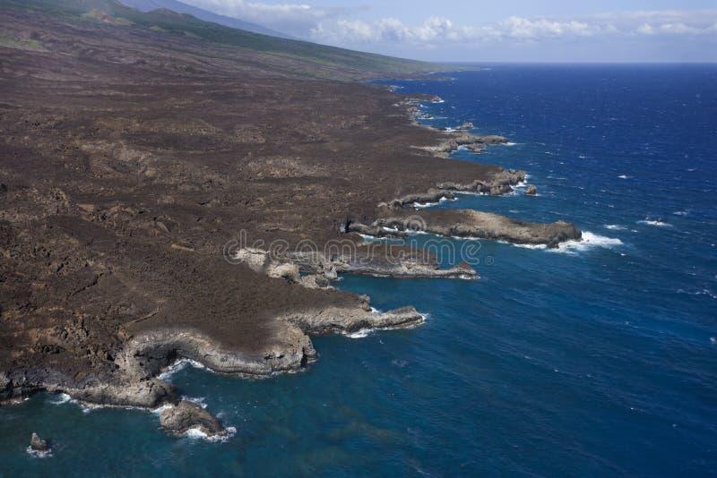 空中夏威夷岸 图库摄影
