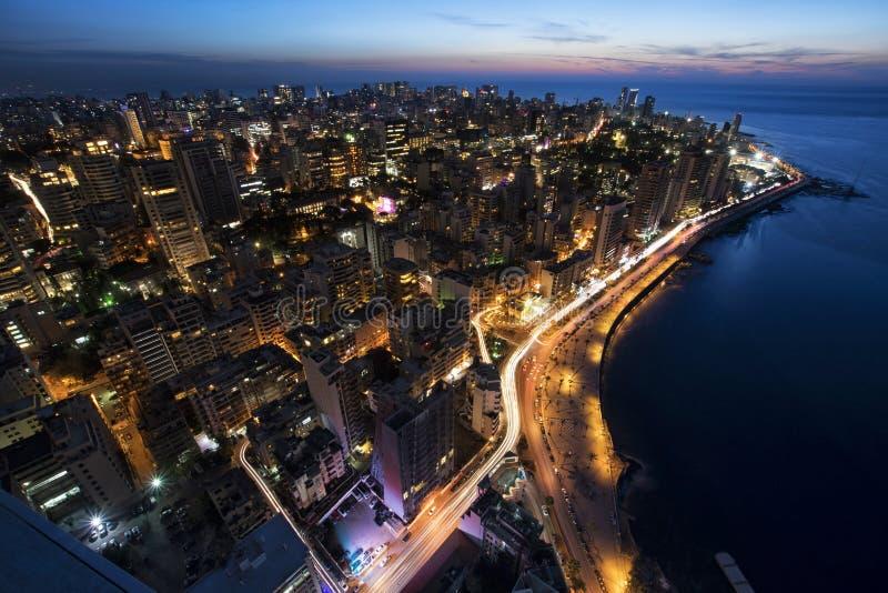 空中夜射击了贝鲁特黎巴嫩,市贝鲁特,贝鲁特市scape 免版税图库摄影