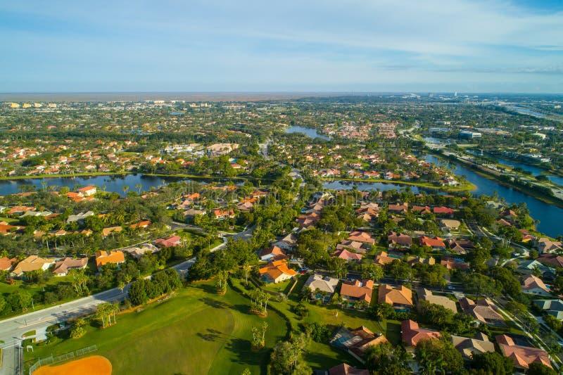 空中威斯顿佛罗里达住宅邻里 库存照片