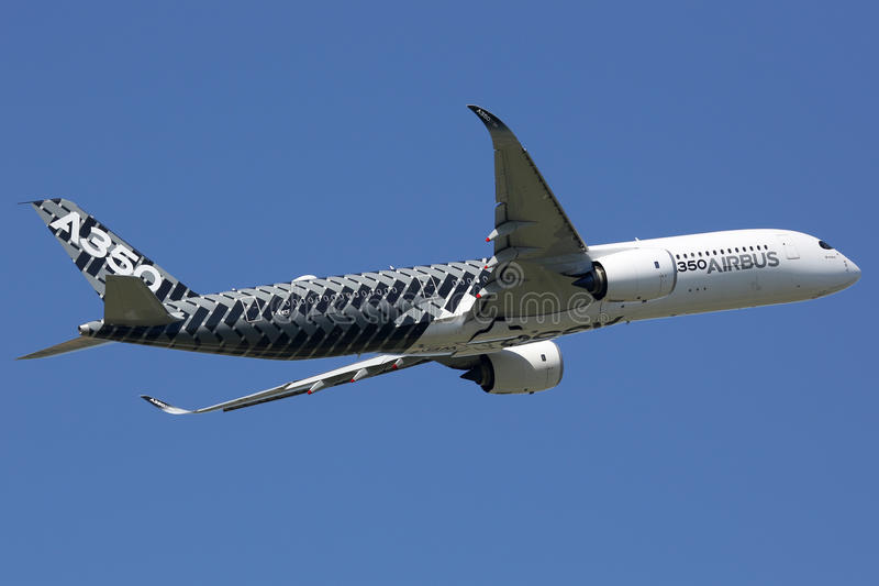 空中客车A350飞机图卢兹机场 图库摄影