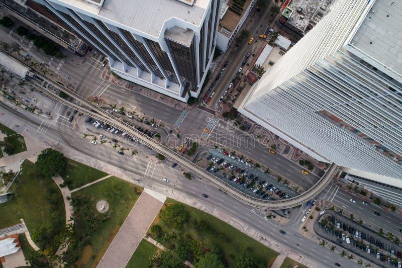 空中寄生虫图象街市迈阿密比斯坎岛大道佛罗里达美国 免版税库存图片