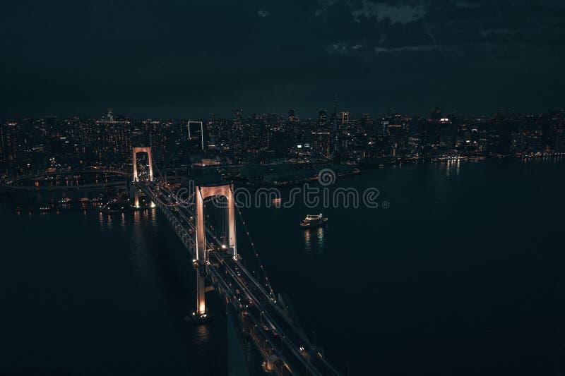 空中寄生虫照片-彩虹桥和地平线东京在晚上 日本首都 免版税图库摄影