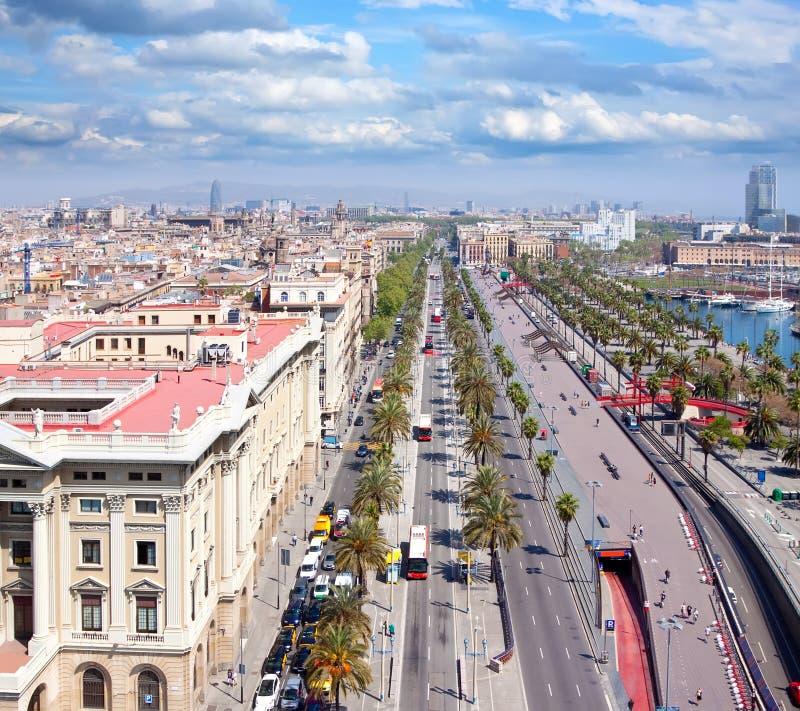 空中巴塞罗那视图 库存图片