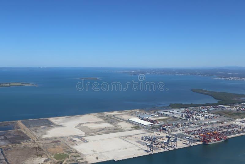 空中布里斯班端口视图 图库摄影