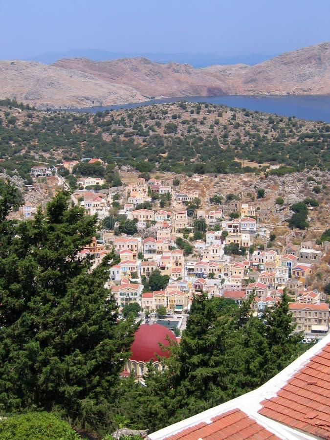 空中希腊海岛视图 免版税库存图片