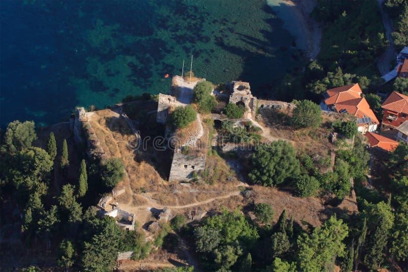 空中希腊parga视图 库存照片