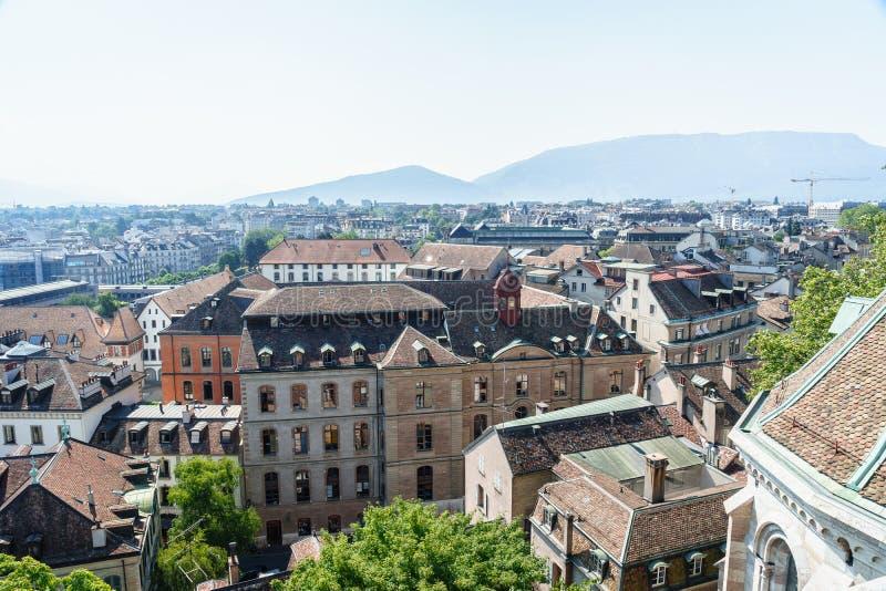 空中日内瓦瑞士 免版税库存图片