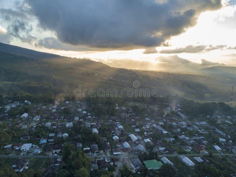 空中日落视图在Ruteng 库存图片