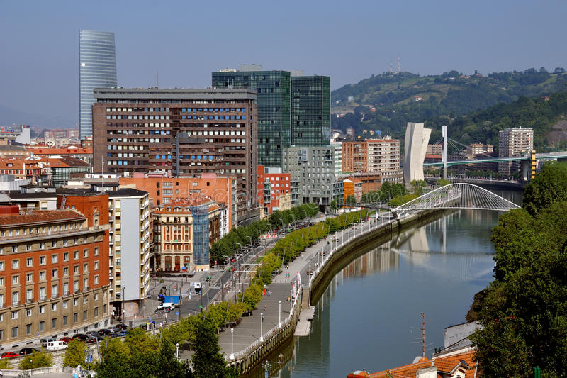 空中毕尔巴鄂西班牙视图 免版税图库摄影