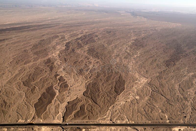 空中河床干燥线路nazca河视图 免版税库存图片