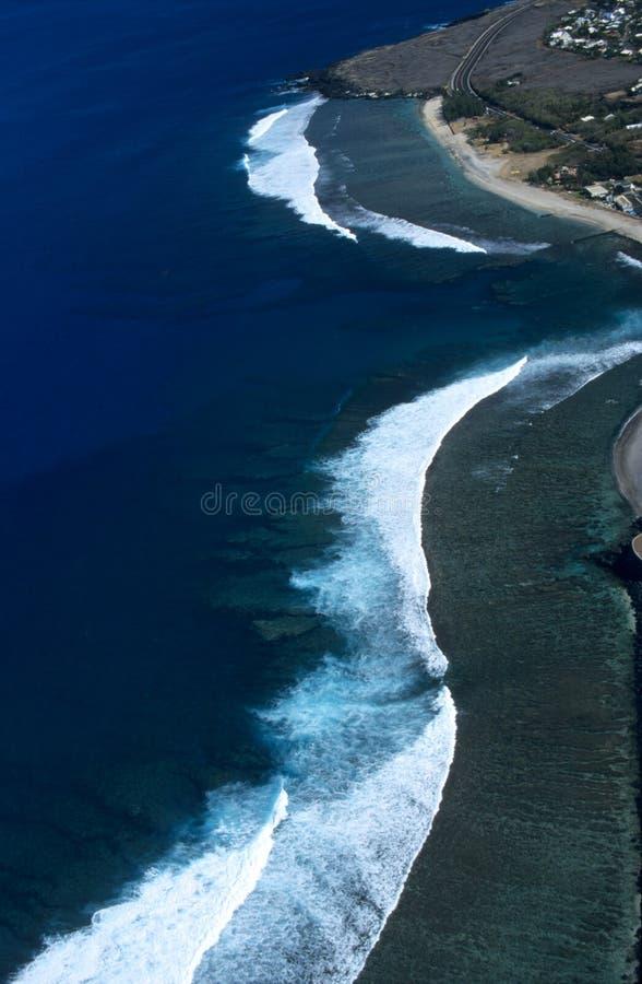 空中海岛盐水湖列伊留尼汪岛圣徒查&# 免版税库存照片