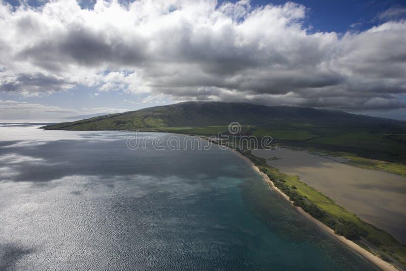 空中海岸夏威夷毛伊 免版税库存图片