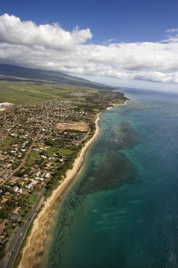 空中海岸夏威夷毛伊 库存照片