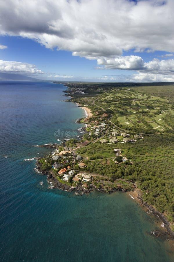 空中海岸夏威夷毛伊 库存图片