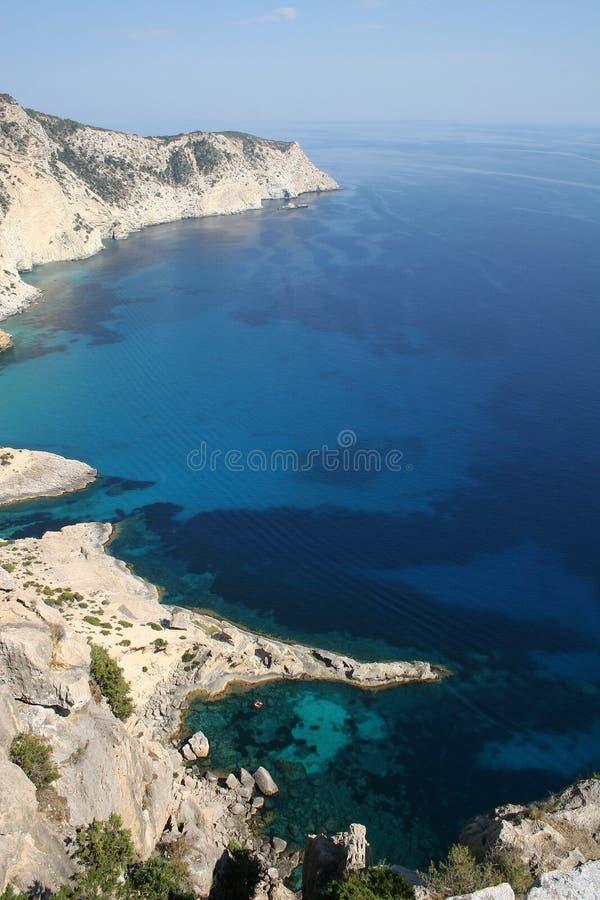 空中海岸线ibiza海岛视图 库存图片