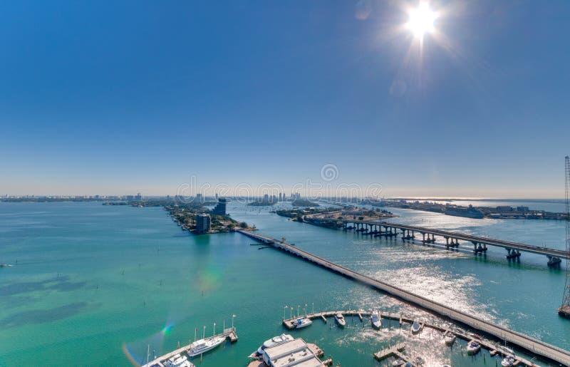 空中海湾biscayne视图 免版税图库摄影