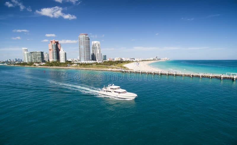 空中海滩迈阿密南视图 免版税库存图片