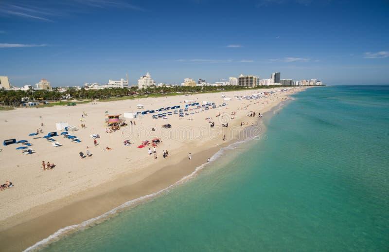 空中海滩迈阿密南视图 库存图片