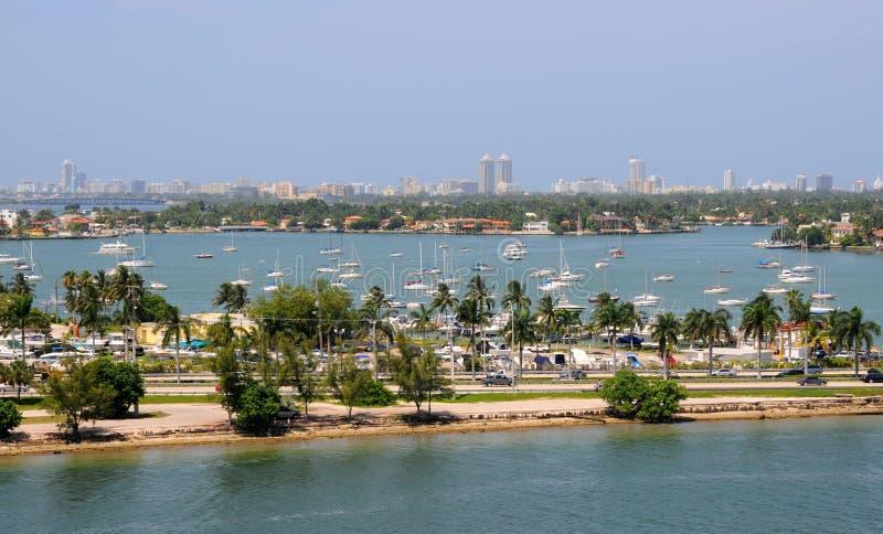 空中海滩迈阿密视图 免版税库存图片