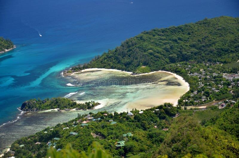 空中海滩塞舌尔群岛 库存照片