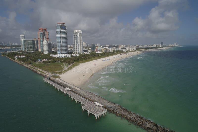 空中海滩迈阿密视图 免版税库存照片