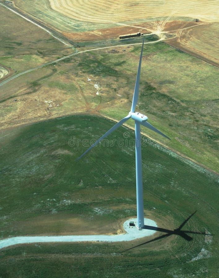 空中涡轮视图风车 免版税库存照片