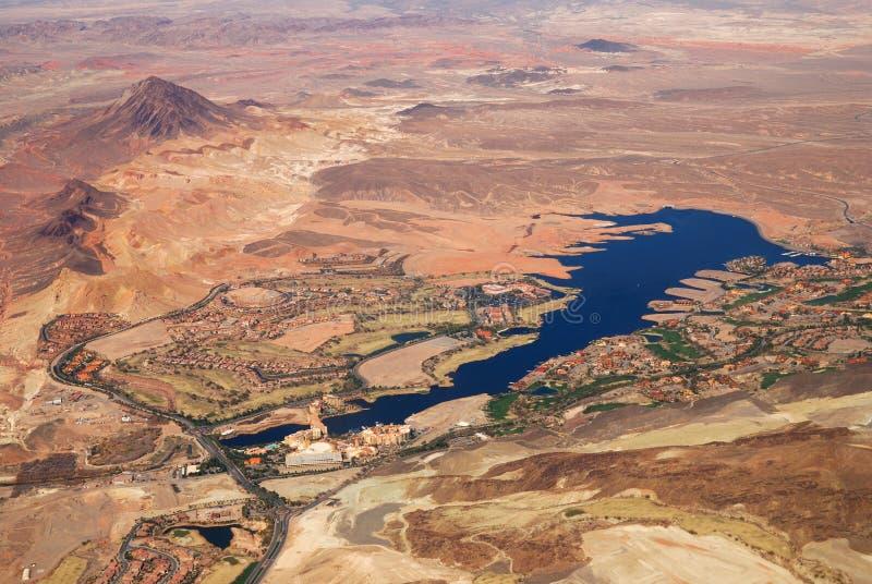 空中湖las内华达维加斯视图 免版税库存照片
