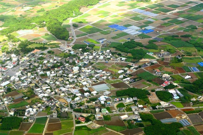 空中照片村庄 图库摄影