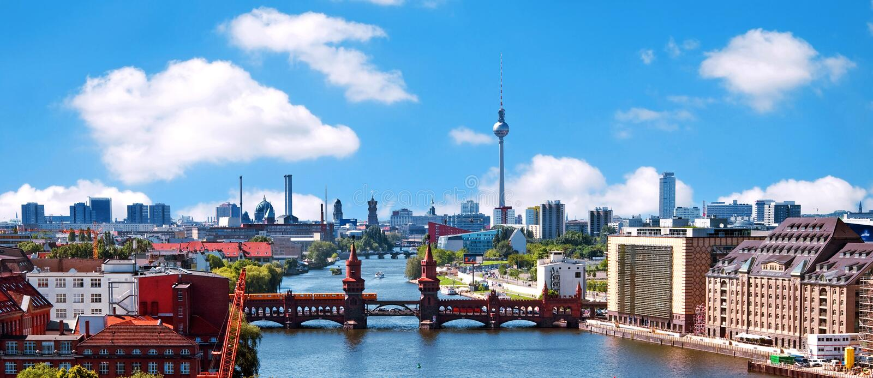 空中照片柏林地平线 免版税库存照片