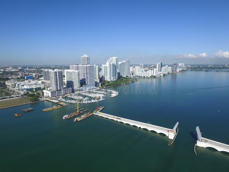 空中照片Edgewater迈阿密 免版税图库摄影