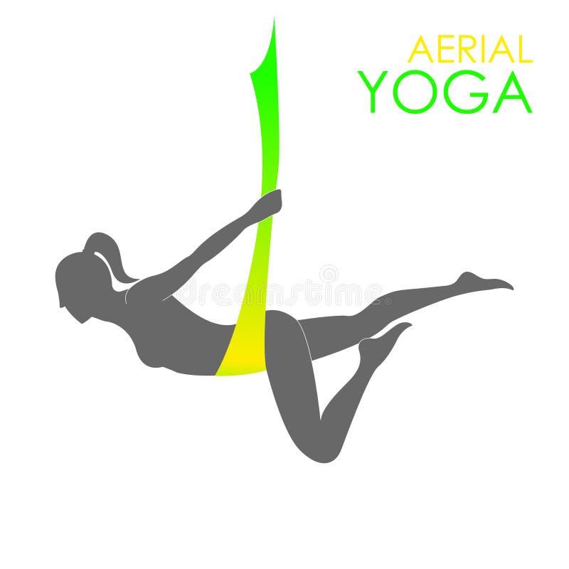 空中瑜伽商标模板 反地心引力的瑜伽 免版税图库摄影