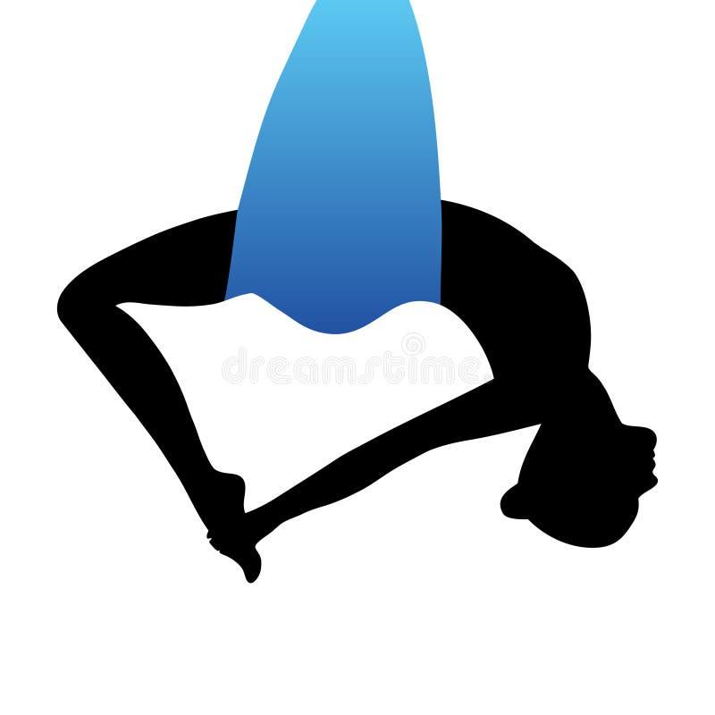 空中瑜伽 航空瑜伽 反地心引力的瑜伽 向量例证