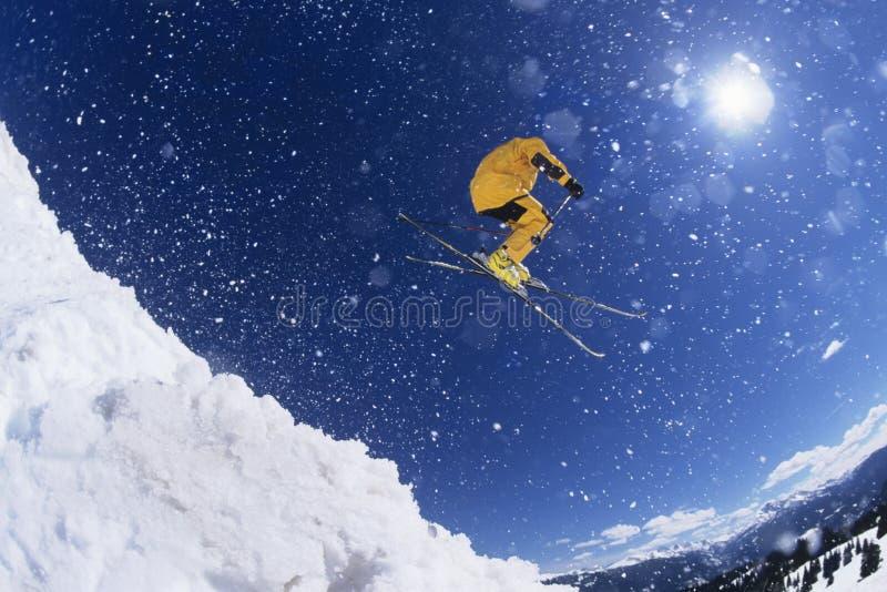 空中的滑雪者在雪上 库存照片